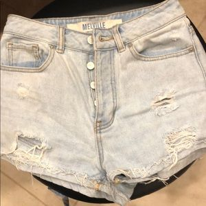 Brandy Melville button fly ripped shorts SZ 24
